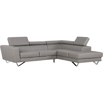 Delia Sectional Orientation: Right Hand Facing, Upholstery: Grey
