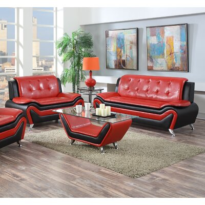 Elzada 3 Piece Tight Back Living Room Set Color: Red