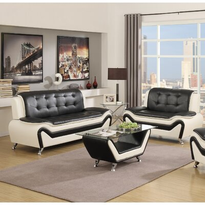 Elzada 3 Piece Living Room Set Color: White