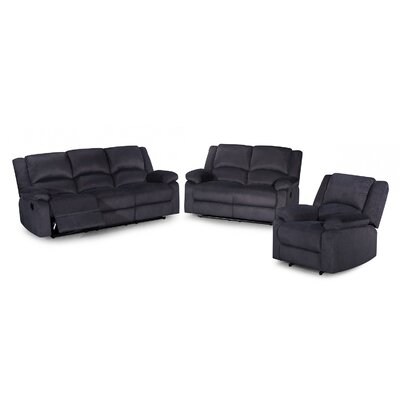 3 Piece Recliner Sofa Set Color: Dark Gray
