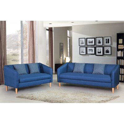 2 Piece Living Room Set Color: Blue