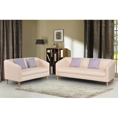 2 Piece Living Room Set Color: Beige