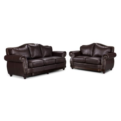 Scrolled Sofa and Loveseat Set