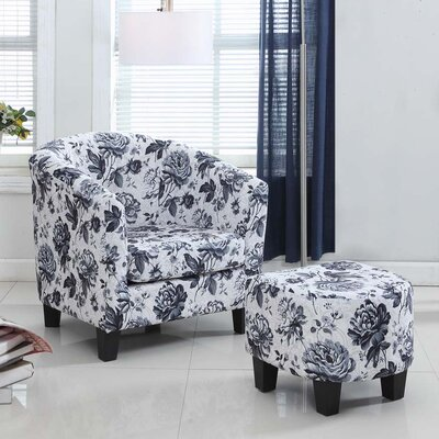 Salter Floral Barrel Chair and Ottoman