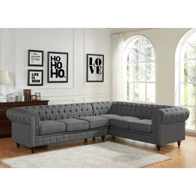 Scroll Sectional Upholstery: Gray, Orientation: Left Hand Facing