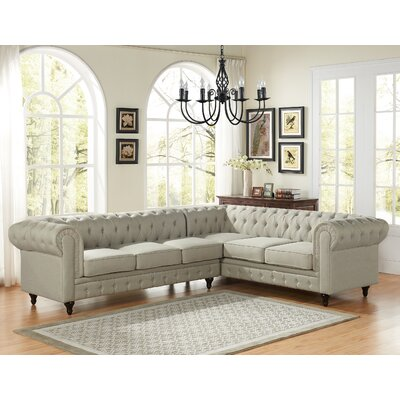 Scroll Sectional Upholstery: Beige, Orientation: Left Hand Facing
