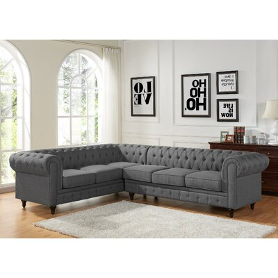 Scroll Sectional Upholstery: Gray, Orientation: Right Hand Facing