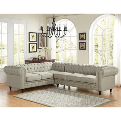 Scroll Sectional Upholstery: Beige, Orientation: Right Hand Facing