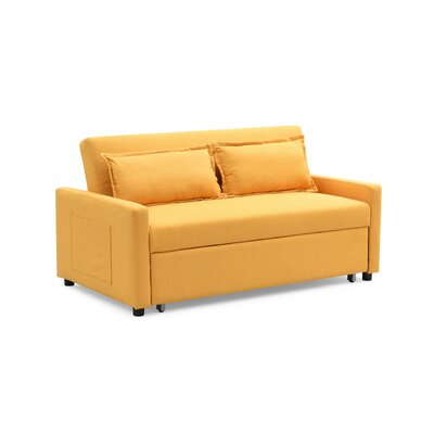 Fabric Modern Convertible Sleeper Loveseat Upholstery: Yellow