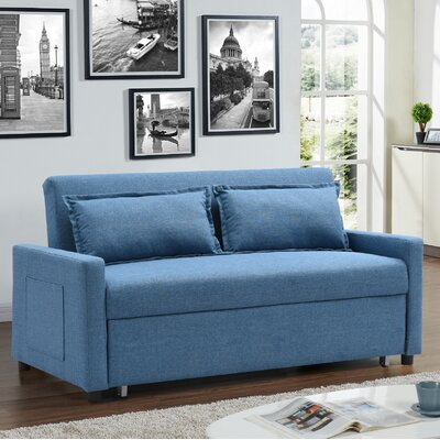 Fabric Modern Convertible Sleeper Loveseat Upholstery: Blue