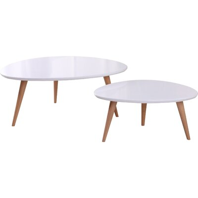 Isabella 2 Piece Coffee Table Set Color: White