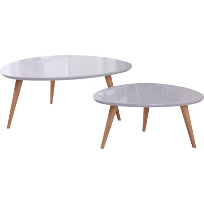 Isabella 2 Piece Coffee Table Set Color: Light Grey
