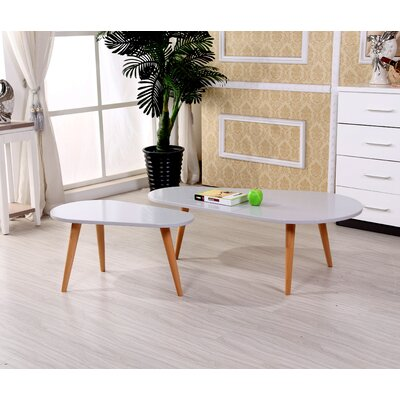Sara 2 Piece Coffee Table Set Color: Light Grey