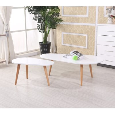 Sara 2 Piece Coffee Table Set Color: White