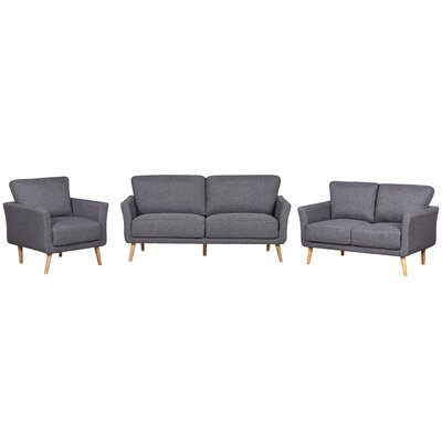 3 Piece Fabric Living Room Set Color: Dark Gray