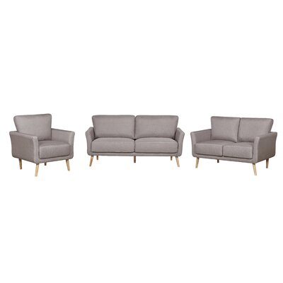 3 Piece Living Room Set Color: Brown