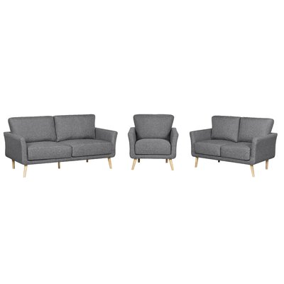 3 Piece Fabric Living Room Set Color: Gray
