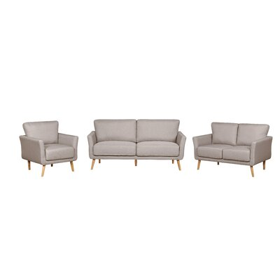 3 Piece Fabric Living Room Set Color: Beige