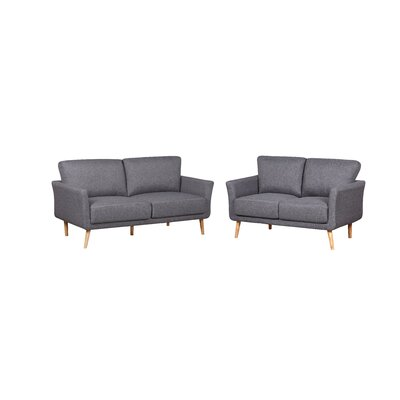 2 Piece Fabric Sofa and Loveseat Set Color: Dark Gray