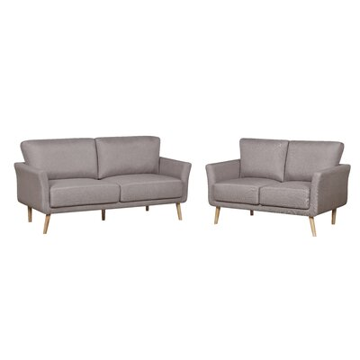 2 Piece Fabric Sofa and Loveseat Set Color: Brown