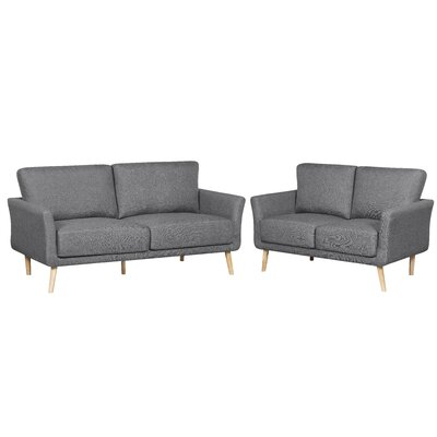 2 Piece Fabric Sofa and Loveseat Set Color: Gray