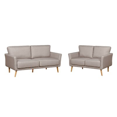 2 Piece Fabric Sofa and Loveseat Set Color: Beige
