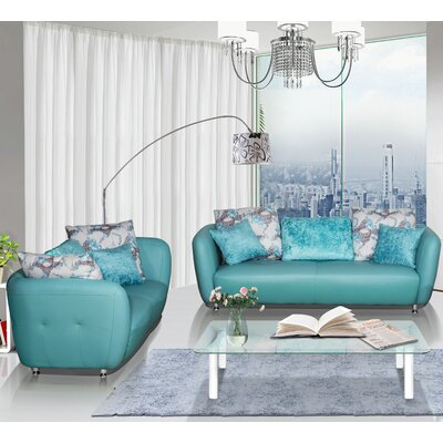 2 Piece Leather Living Room Set Upholstery Color: Blue