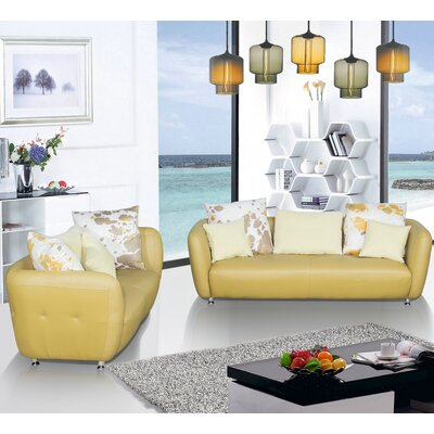 2 Piece Leather Living Room Set Upholstery Color: Goldenrod