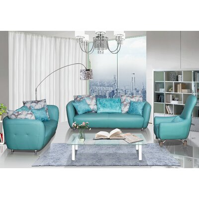 3 Piece Leather Living Room Set Upholstery Color: Blue