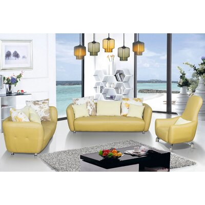 3 Piece Leather Living Room Set Upholstery Color: Goldenrod