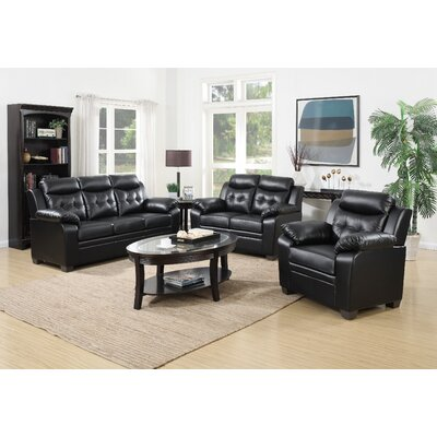 3 Piece Living Room Set Upholstery: Black