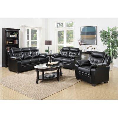 3 Piece Living Room Set Upholstery: Black