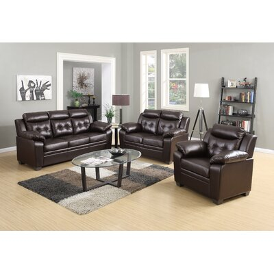 3 Piece Living Room Set Upholstery: Chocolate
