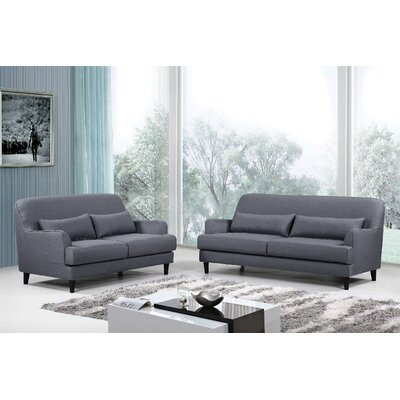 Modern 2 Piece Sofa and Loveseat Set Upholstery: Dark Gray