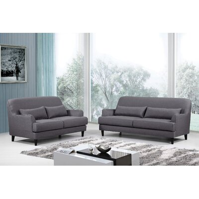 Modern 2 Piece Sofa and Loveseat Set Upholstery: Gray