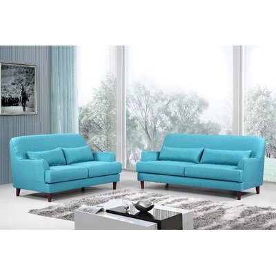 Modern 2 Piece Sofa and Loveseat Set Upholstery: Blue