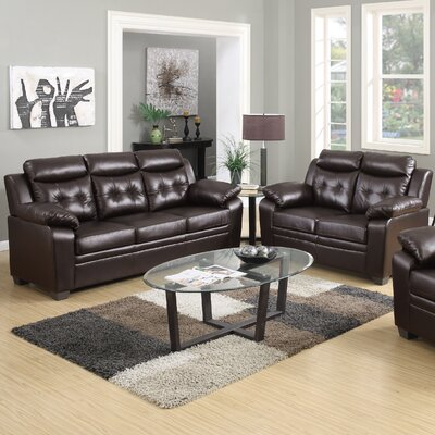 2 Piece Living Room Set Upholstery: Chocolate
