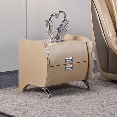 Victoria 2 Drawer Nightstand Color: Natural