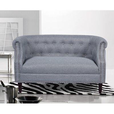 Chesterfield Loveseat Upholstery: Grey