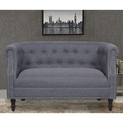 Chesterfield Loveseat Upholstery: Dark Grey