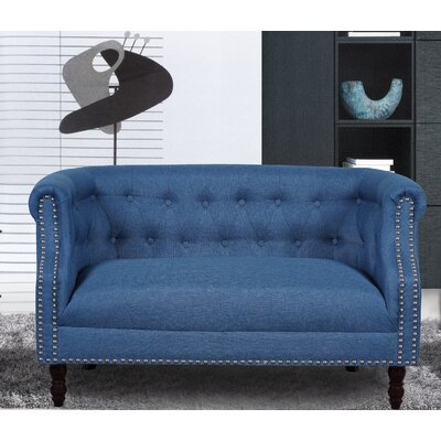 Chesterfield Loveseat Upholstery: Ocean Blue