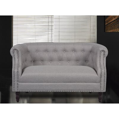 Chesterfield Loveseat Upholstery: Beige/Light Grey