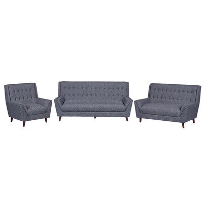 3 Piece Living Room Set Upholstery: Dark Gray
