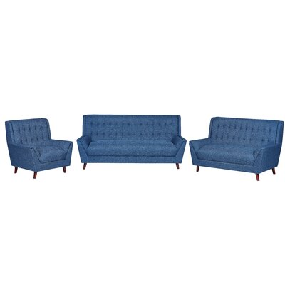 3 Piece Living Room Set Upholstery: Ocean Blue