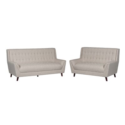 2 Piece Living Room Set Upholstery: Tan