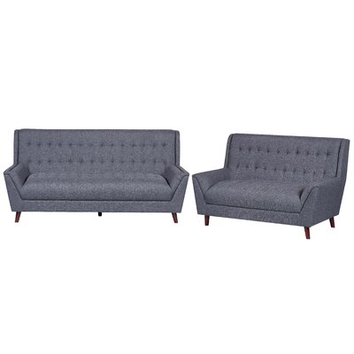 2 Piece Living Room Set Upholstery: Dark Gray