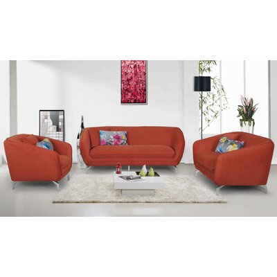 3 Piece Living Room Set Upholstery: Red