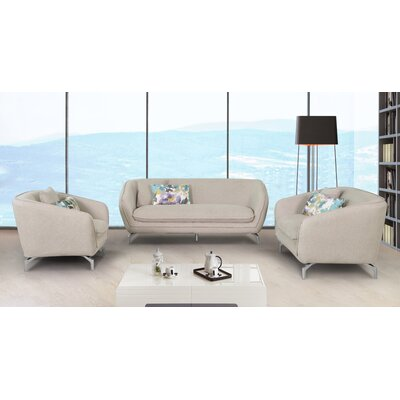 3 Piece Living Room Set Upholstery: Beige