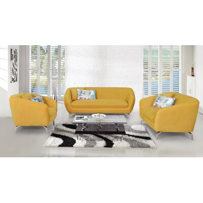 3 Piece Living Room Set Upholstery: Yellow
