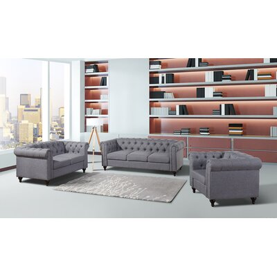 Chesterfield 3 Piece Living Room Set Upholstery: Dark Gray